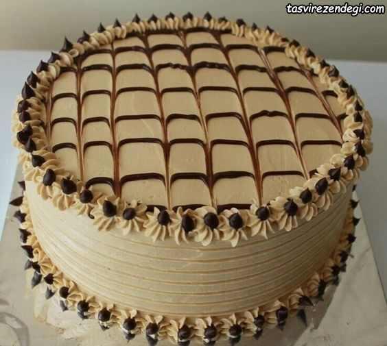 تریین کیک نسکافه ای با ماسوره