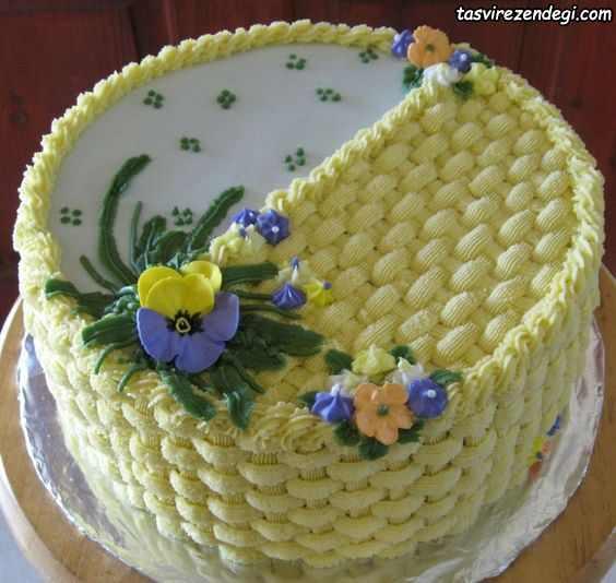 تریین کیک با ماسوره به شکل سبد