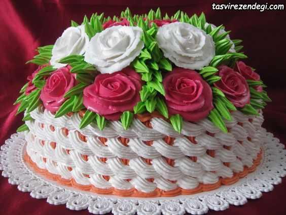 مدل تزیین کیک با خامه
