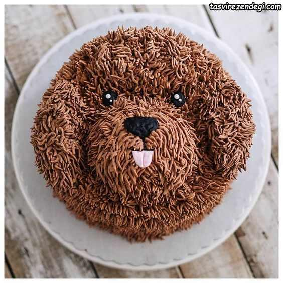 تزیین کیک تولد به شکل سگ