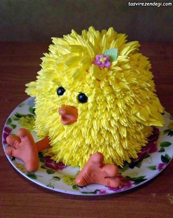 تزیین کیک تولد به شکل جوجه