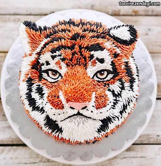 تزیین کیک به شکل ببر