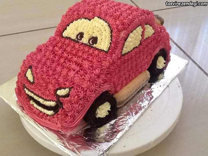 تزیین کیک تولد پسرانه به شکل ماشین