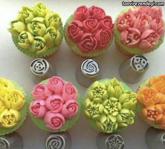تزیین کاپ کیک با ماسوره سه بعدی