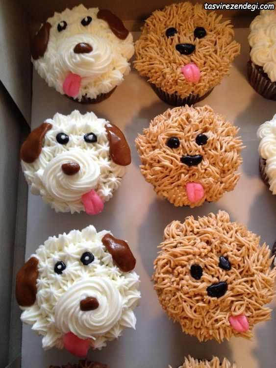 تزیین کاپ کیک به شکل سگ