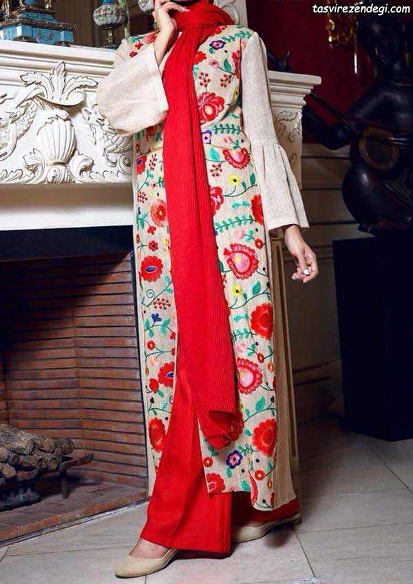 مدل مانتو تابستانی بلند گلدار