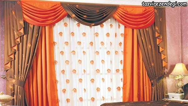 پرده پذیرایی نارنجی و سفید والان دار