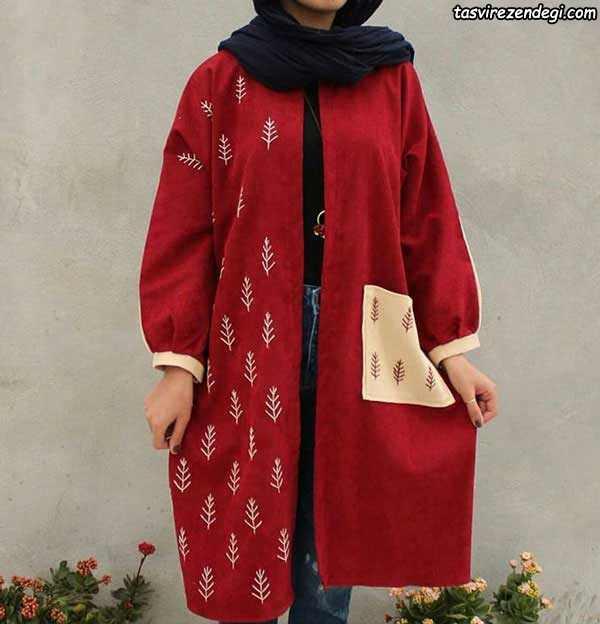 مدل مانتو پاییزه دخترانه کیمونو قرمز