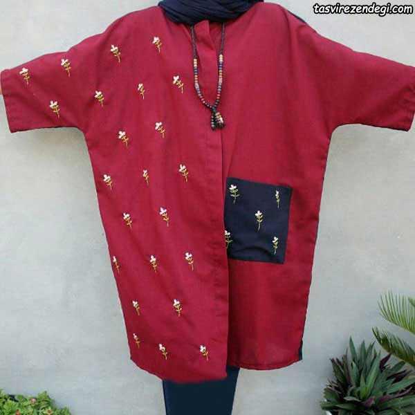 مدل مانتو پاییزی قرمز آستین کیمونو