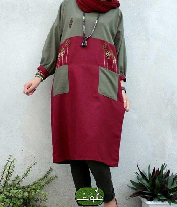 مدل مانتو پاییزی دو رنگ با جیب رو