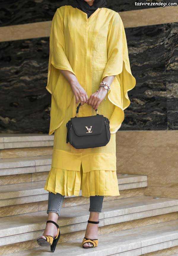 مدل مانتوهای جدید و شیک نخی زرد رنگ