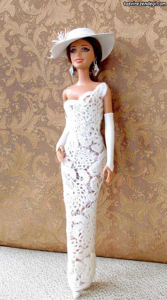 لباس عروسک سفید بافت ایرلندی