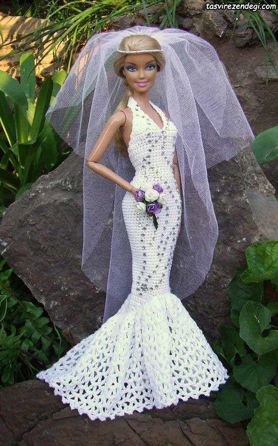مدل لباس عروسک باربی بافتنی