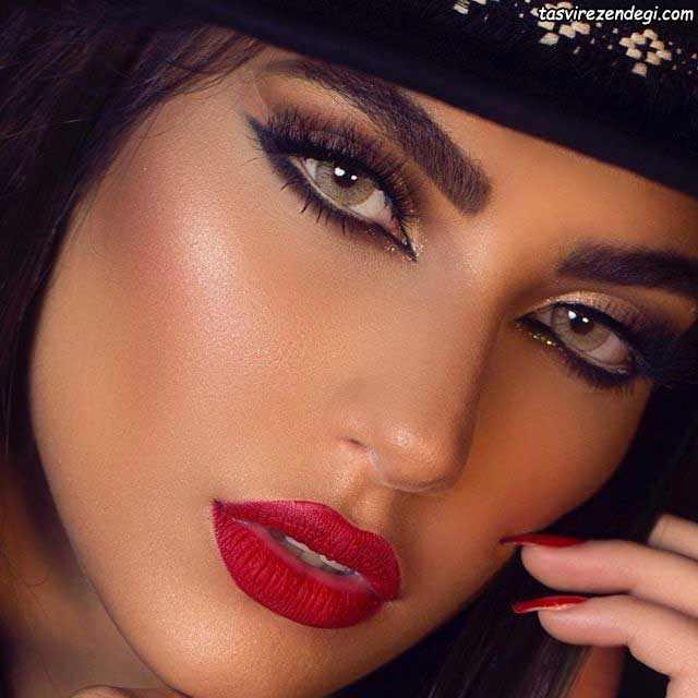 آرایش صورت عربی خط چشم تیره