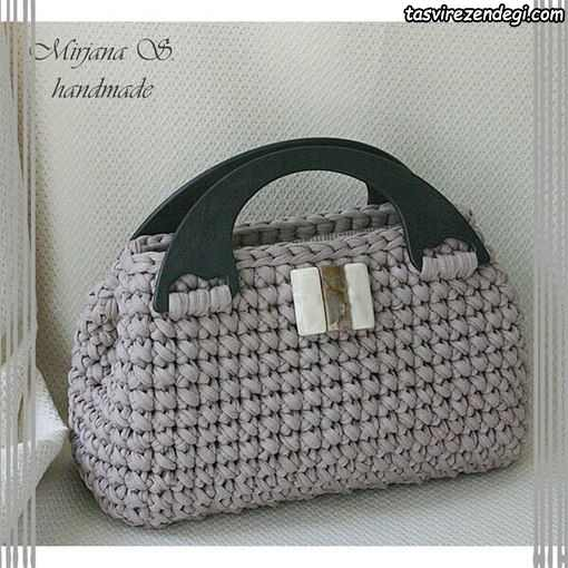 کیف تریکو زنانه طوسی رنگ