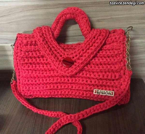کیف دستی قرمز تریکو بافی