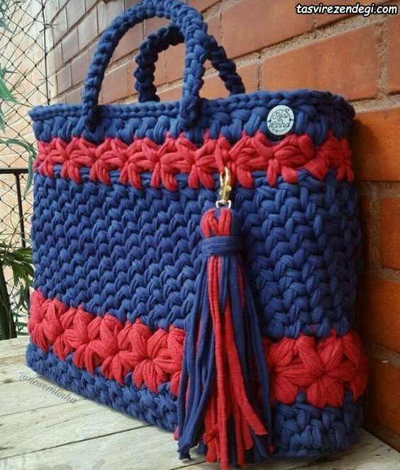 کیف تریکو زنانه دو رنگ