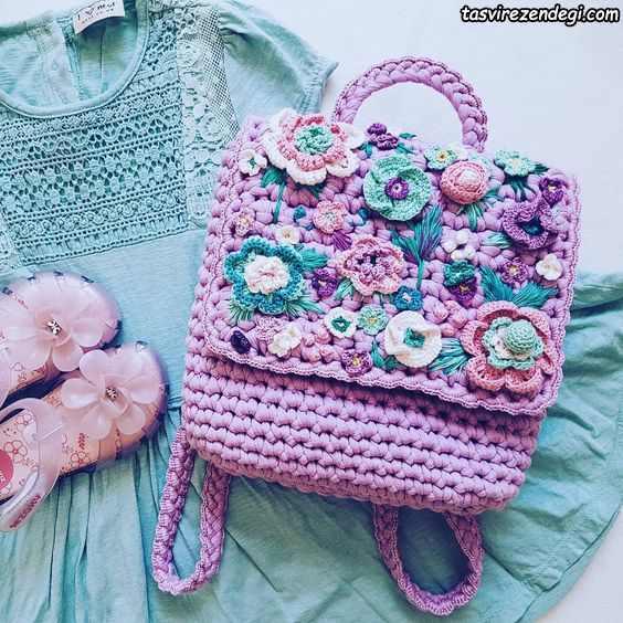 کیف دخترانه تزیین شده تریکو
