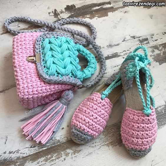 مدل کیف و کفش تریکو بافی