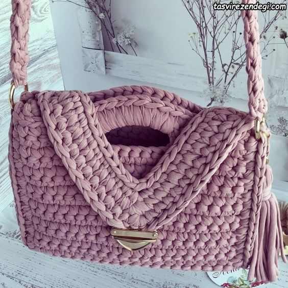 کیف زنانه قلاب بافی با نخ تریکو