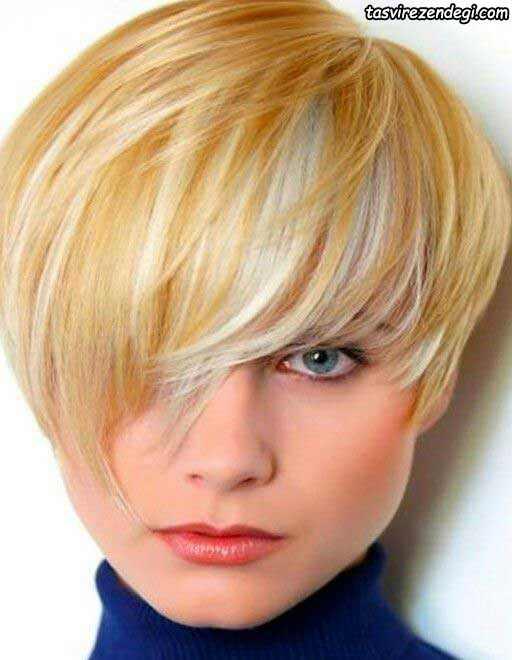 مدل موی کوتاه طلایی هایلایت نقره ای
