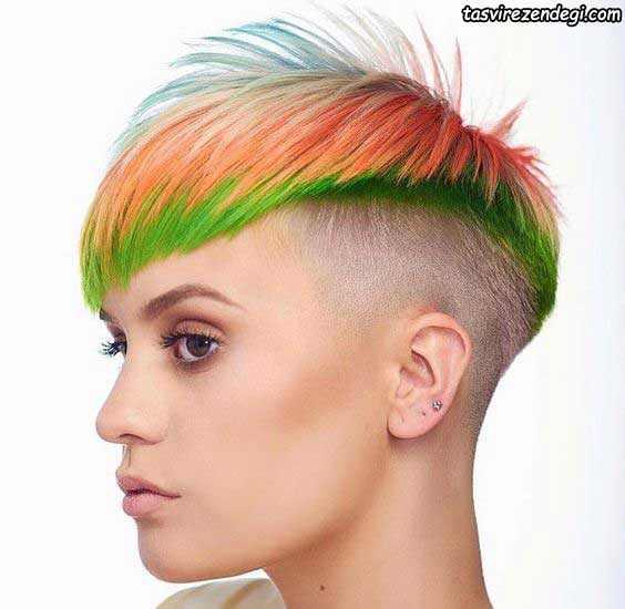 مدل موی کوتاه خاص رنگی