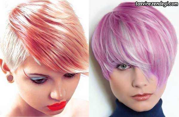 مدل موی کوتاه رنگی