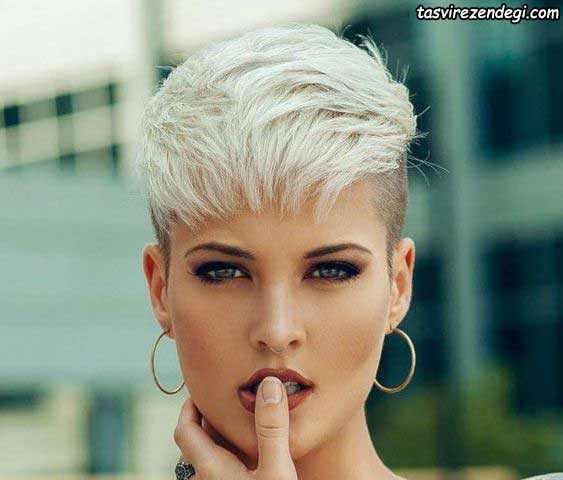مدل موی کوتاه استخوانی رنگ