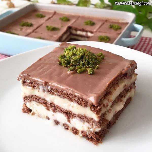 کیک بیسکویتی پودینگی