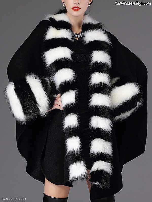 مدل پالتو زنانه و دخترانه خز سفید مشکی