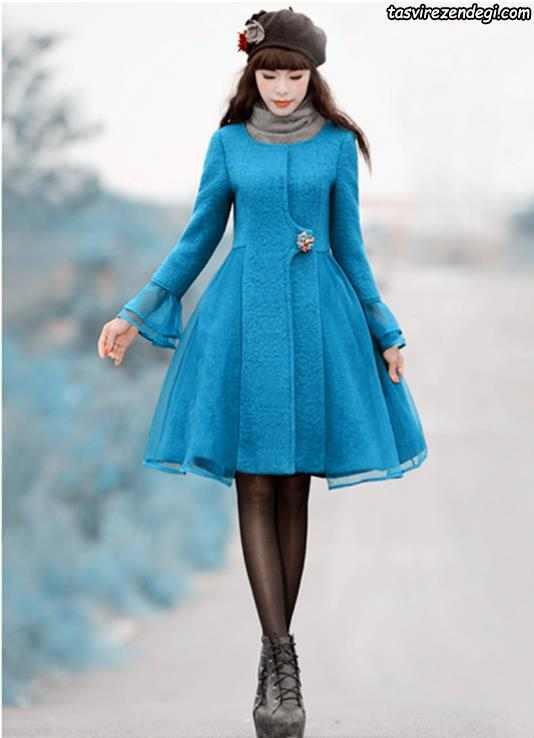 پالتو پشم آبی دخترانه
