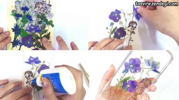 تزیین قاب گوشی با گلهای خشک