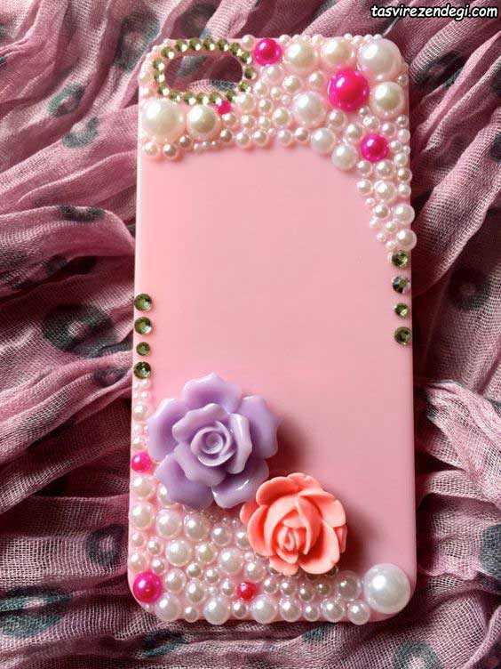 تزیین قاب موبایل با گل و مروارید