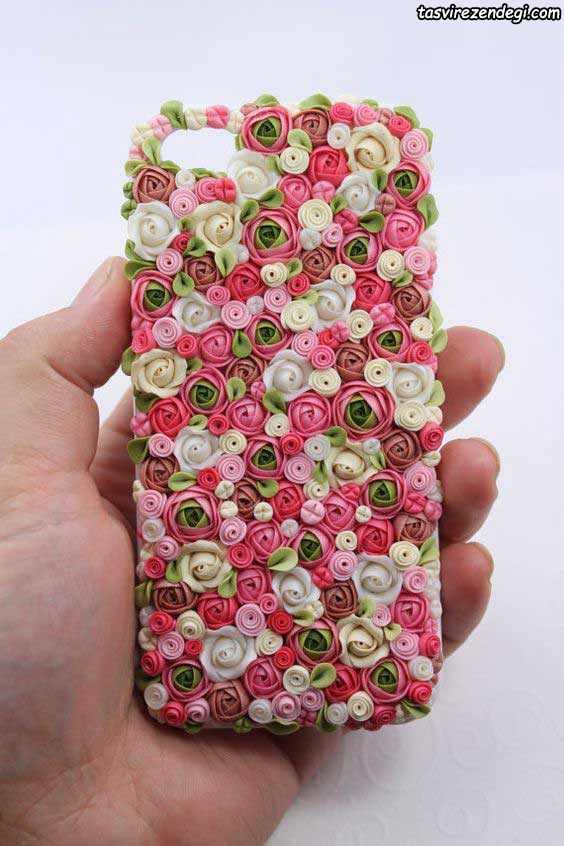 تزیین قاب موبایل با گل روبانی