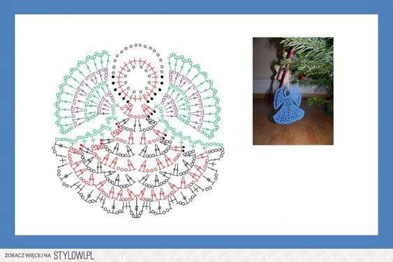آویز فرشته تزیینات درخت کریسمس قلاب بافی