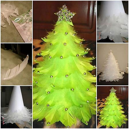ساخت درخت کریسمس با پر