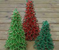 ساخت درخت کریسمس مصنوعی با مروارید رنگی