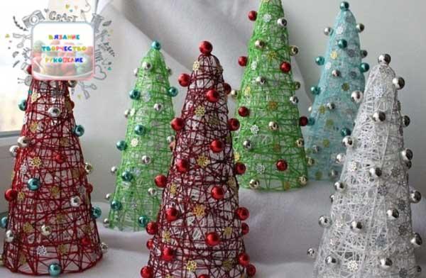 ساخت درخت کریسمس با نخ
