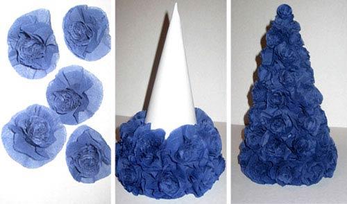 ساخت درخت کریسمس با گل های کاغذی