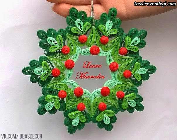 تزیین درخت کریسمس با ملیله کاغذی