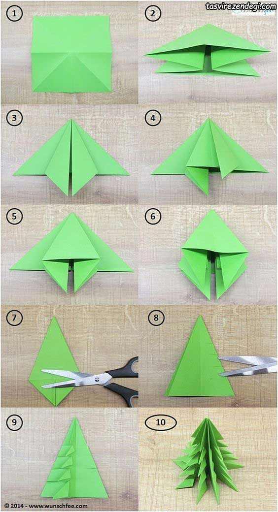 آموزش ساخت درخت کریسمس کاغذی اوریگامی