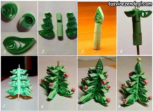 آموزش ساخت درخت کریسمس ملیله کاغذی