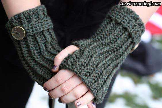 دستکش بدون انگشت قلاب بافی