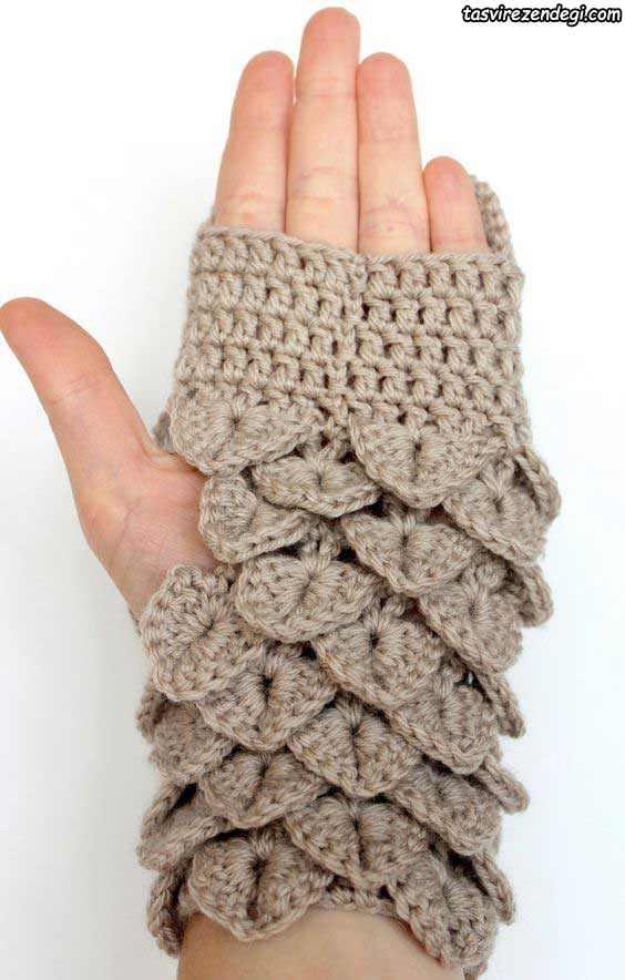 دستکش بدون انگشت طرح جغد قلاب بافی