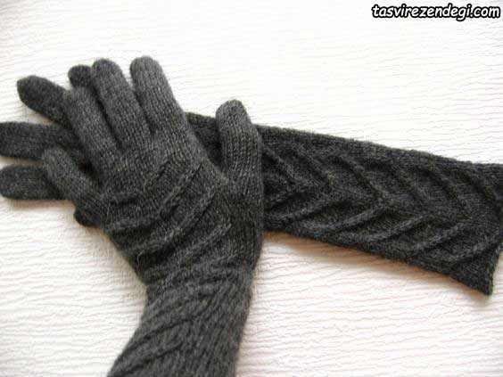 دستکش بافتنی ساق بلند