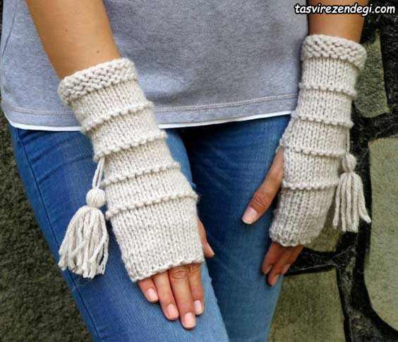 دستکش بدون انگشت میل بافی