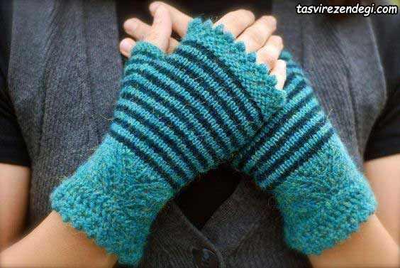 دستکش بدون انگشت دستباف راه راه آبی و سرمه ای