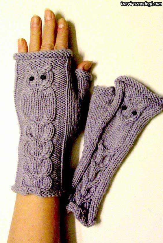 دستکش بدون انگشت طرح جغد میل بافی