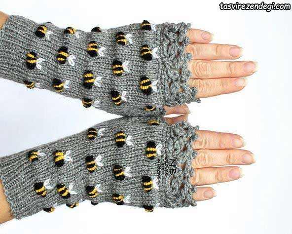 دستکش بدون انگشت گلدوزی شده