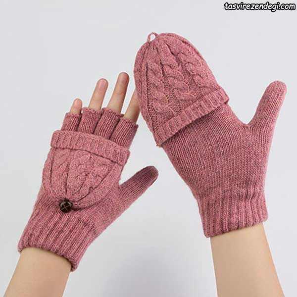 دستکش بافتنی دو میل بافی